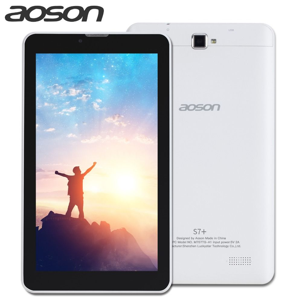 new!Aoson S7+ 7 Inch 3G SIM CARD Phone Call Tablet pcs <font><b>Quad</b></font> Core Android 7.0 Tablets 16GB PAD Dual Camera GPS WIFI Bluetooth IPS