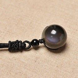 16mm Black Obsidian Rainbow Eye Beads Ball jewelry Stone Pendant Transfer Lucky Love Crystal Jewelry