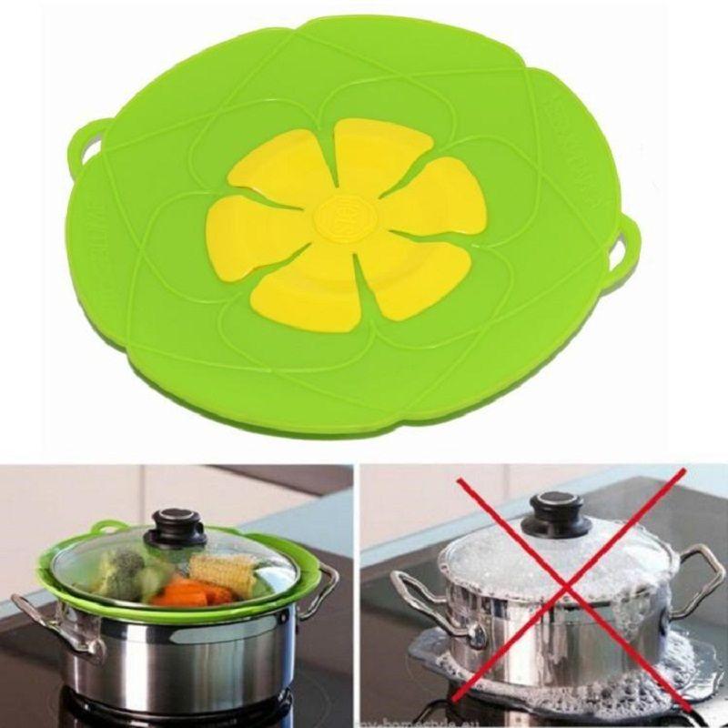 Multi-fonction outils de cuisson fleur ustensiles de cuisine pièces Silicone bouillir sur le couvercle de déversement bouchon four sûr pour Pot/casserole couvercle diamètre 26c