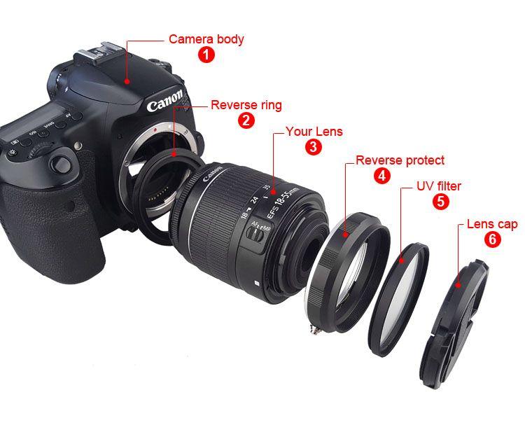Caméra Macro Objectif N ° Adaptateur Protection Ensemble pour Canon 60D 70D 80D 600D 700D 750D 800D 1200D 100D Réinstallé 58mm UV Filtre