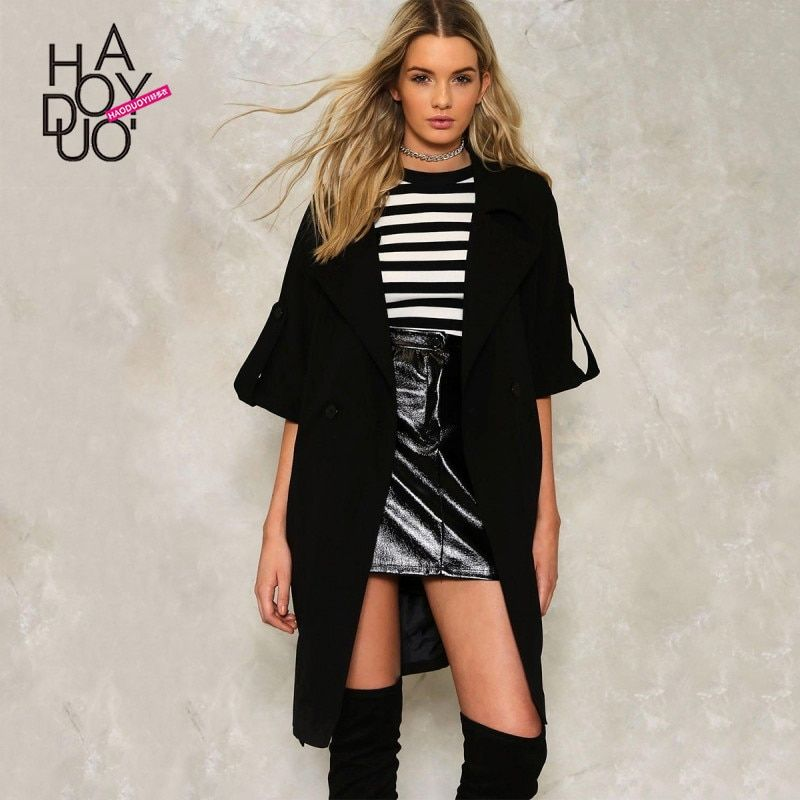 Haoduoyi autumn western style fashion loose solid color SM L XL XXL double-breasted lace-up woman's Casual Trench coat
