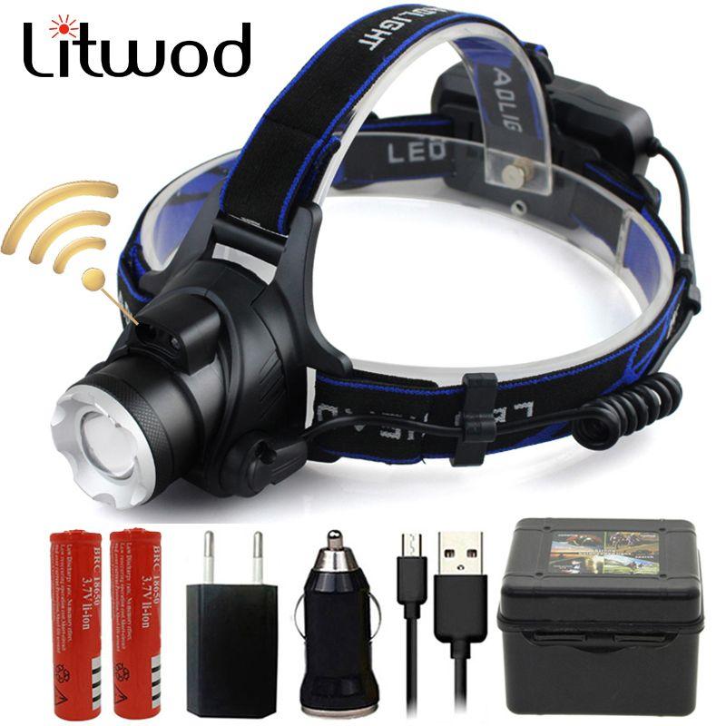 Litwod Z20 capteur infrarouge XM-L2 U3 T6 5000lm phare led phare zoom réglable tête lampe de poche lampe 18650 batterie avant lumière