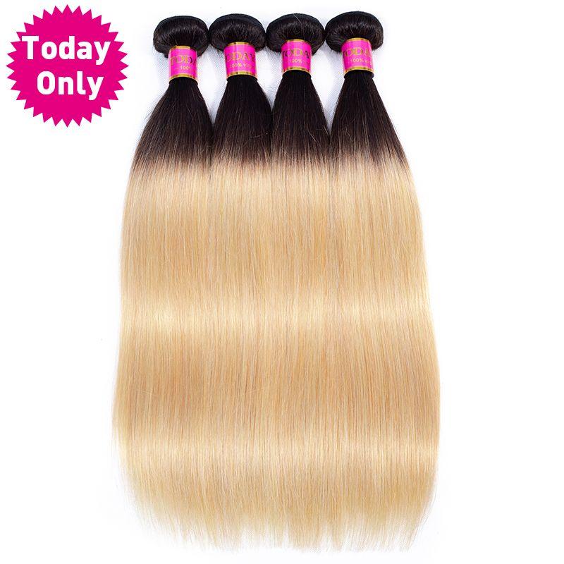 AUJOURD'HUI SEULEMENT 1/3/4 Bundles Blonde Brésilienne Cheveux Raides Bundles Ombre de Cheveux Humains Bundles 1b 27 Brésiliens cheveux Weave Bundles