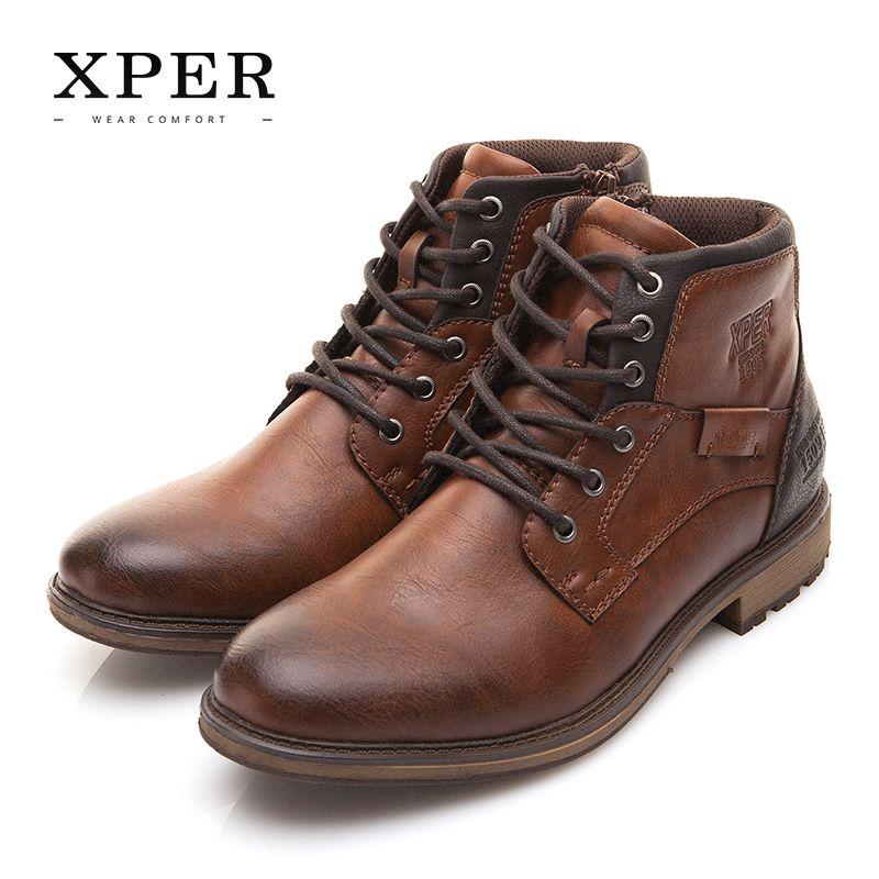 XPER Autumn Winter Men Boots Big Size 40-48 Vintage Style Men Shoes Casual Fashion High-Cut Lace-up Warm Hombre #XHY12504BR