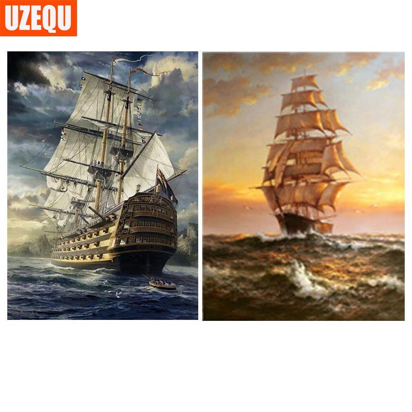UzeQu 5D DIY Diamond Painting Cross Stitch Full Round Diamond Embroidery Sailboat Scenery Diamond Mosaic Painting Rhinestones