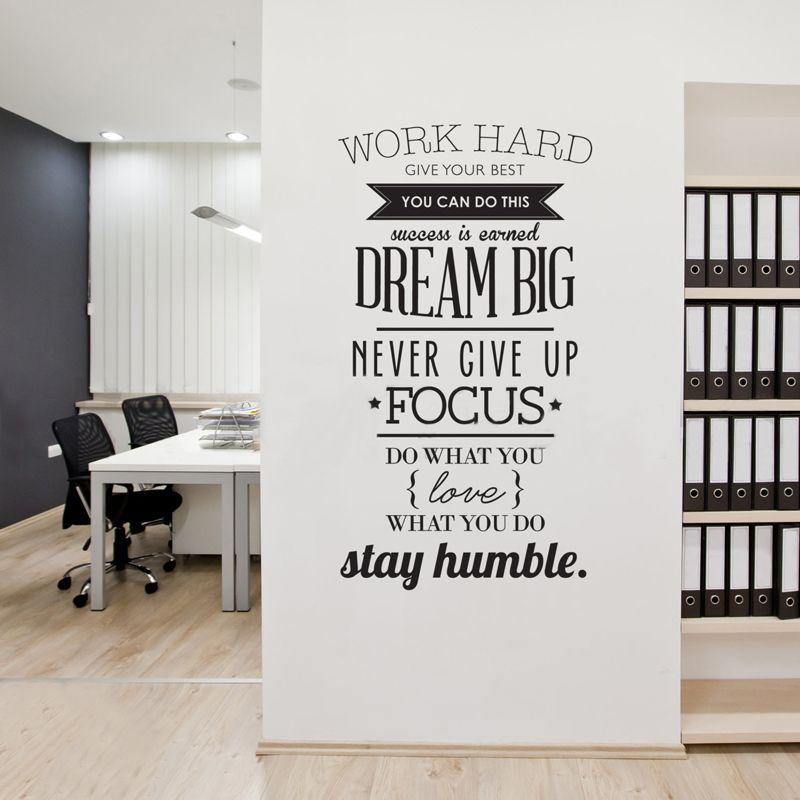 Travailler dur citations inspirantes vinyle mur Art autocollant ne jamais abandonner grand rêve Mural stickers affiche pour bureau salon décor à la maison