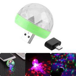 Мини USB диско свет хрустальный магический шар портативный сценический вечерние домашний праздник красочный свет караоке светодио дный укр...