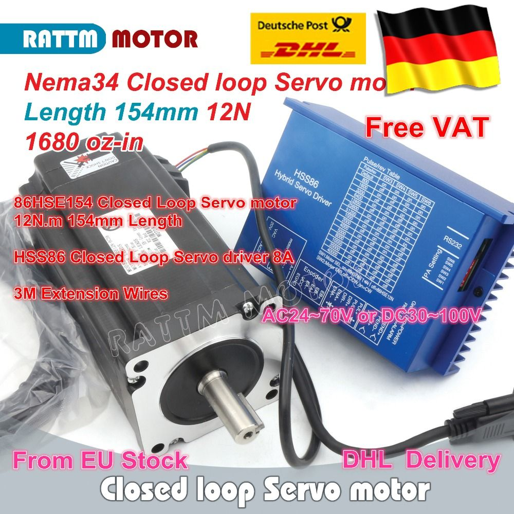 DE free ship Nema34 L-154mm Closed Loop Servo Motor 6A Closed Loop 12N.m & HSS86 Hybrid 8A Step-servo Driver CNC Controller Kit