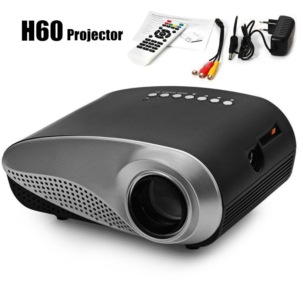 H60 мини ЖК-дисплей проектор 60 люмен 480x320 соотношением сторон 16:9 Портативные Проекторы для дома Театр Кино proyector с ЕС разъем