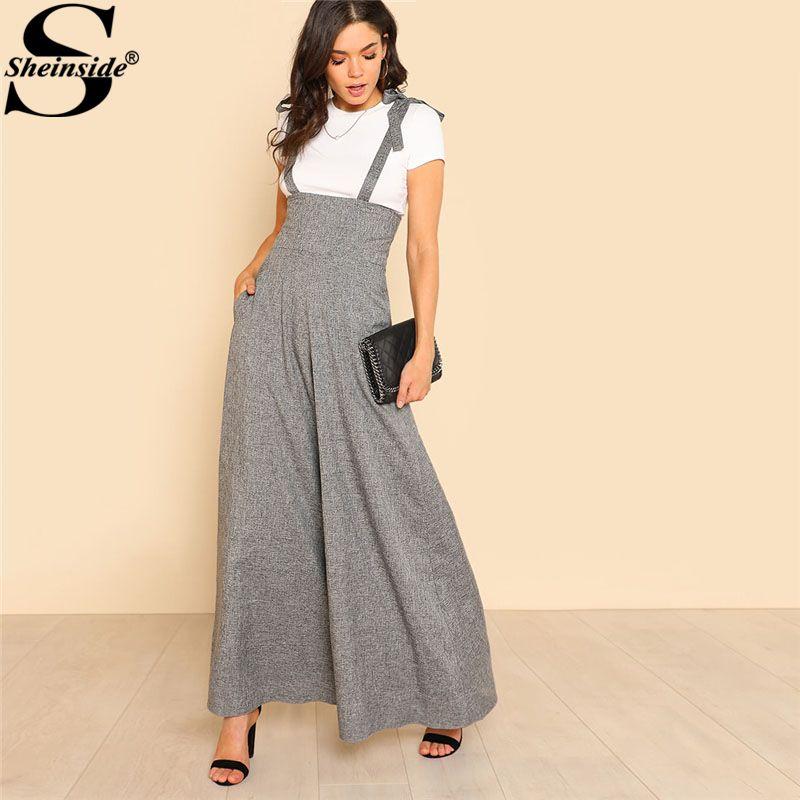 Sheinside Self Tie Strap <font><b>Wide</b></font> Leg Jumpsuit 2018 Spring Grey Sleeveless High Waist Loose OL Work Jumpsuit Women Elegant Jumpsuit
