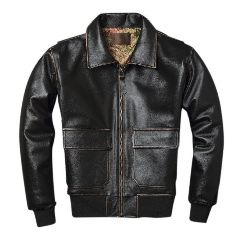 2019 Vintage Braun Männer A2 Pilot Leder Jacke Plus Größe XXXXL Karte Echtem Rinds Military Aviator Leder Mantel FREIES VERSCHIFFEN