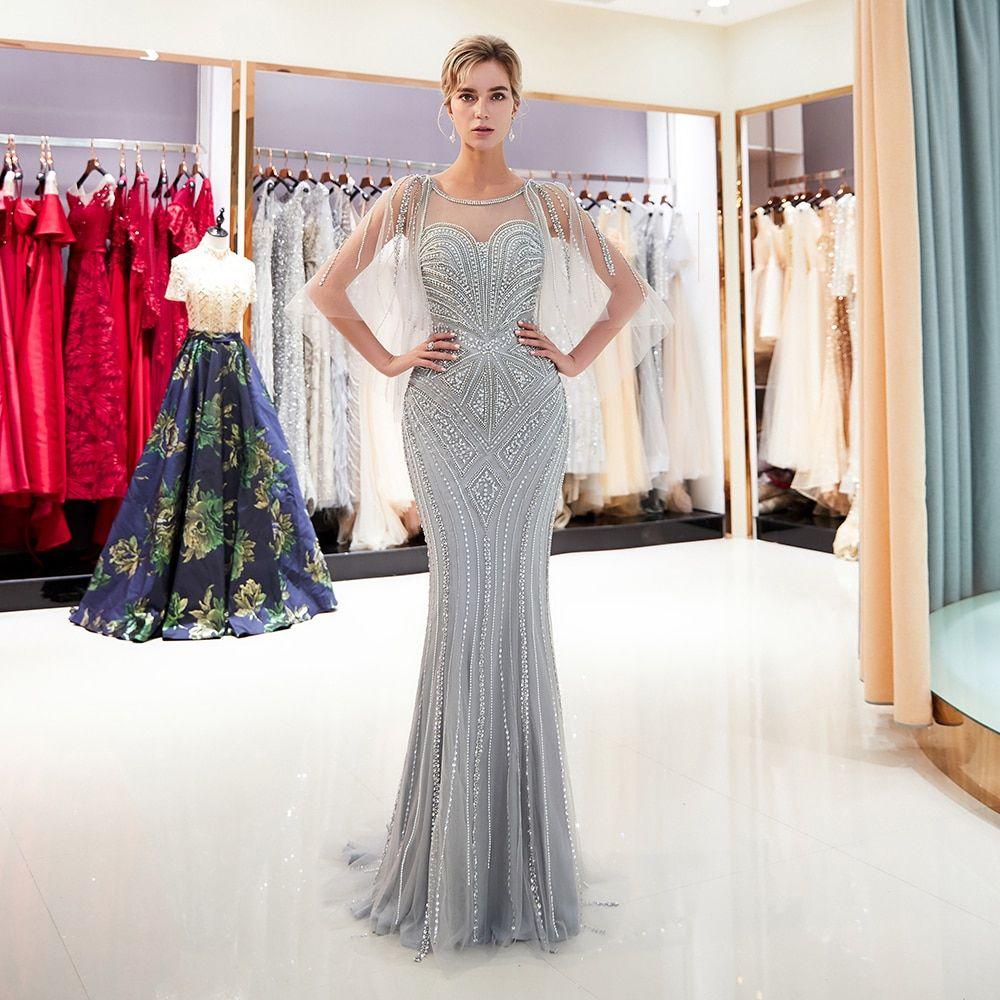 Gray evening dress Crystal Sequins Beaded Long Mermaid Evening Gown Scoop Neckline Long dress
