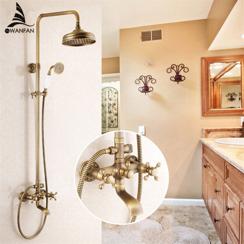 Shower Faucets Antique Brass Shower Set Faucet Tub Mixer Tap Handheld Shower Wall Mounted Rainfall Bath Crane Shower WF-6821