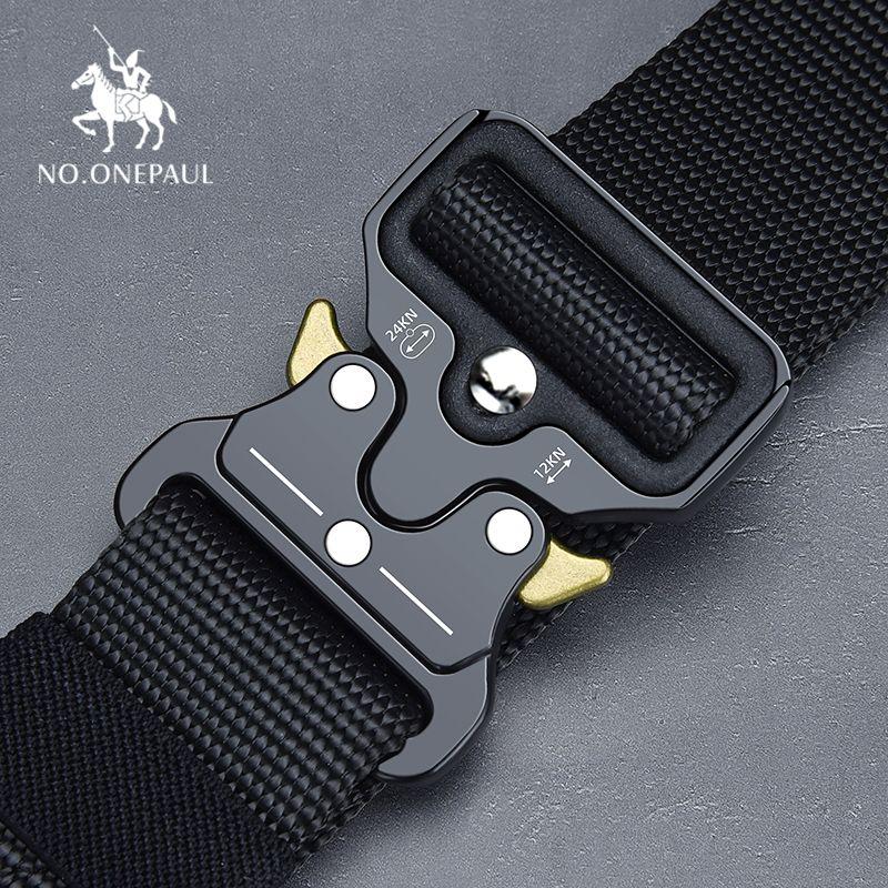 NO.ONEPAUL Tactical belt Military high quality Nylon men's training belt metal multifunctional buckle outdoor sports hook new