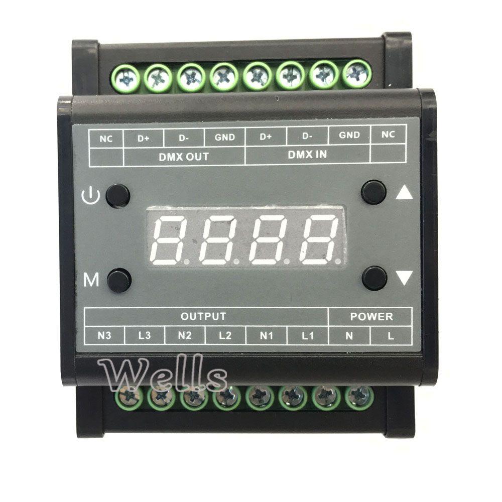 DMX302 led DMX triac dimmer luminosité contrôleur AC90V-240V Sortie 3 canaux 1A/CH Haute tension led gradateur pour led panneau lumineux