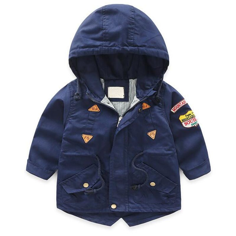 Boy Spring Jackets Windbreaker Baby Hooded Clothes Long Coat Children Badge Letter Uniform Jacket Infant Fashion Jacket Coats