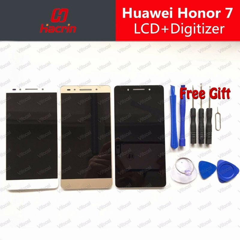 Für Huawei Honor 7 LCD Display + Touchscreen 100% neue honor7 Digitizer Assembly Ersatz für 5,2 Zoll huawei ehre bildschirm