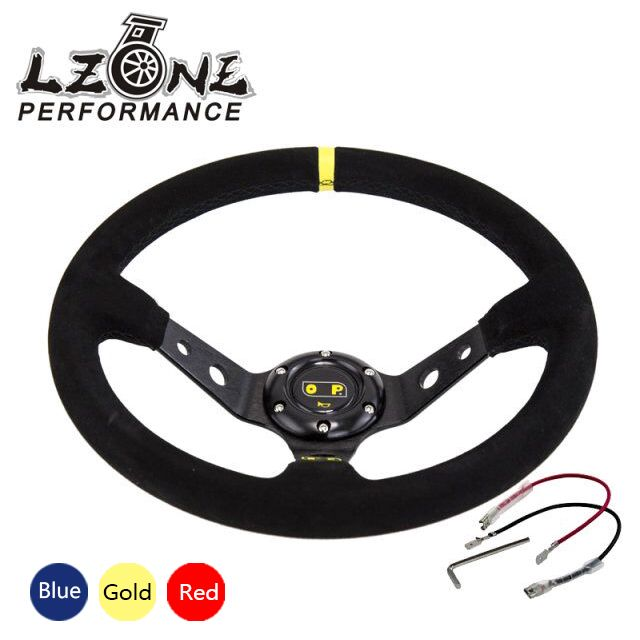 LZONE -  Steering wheel ID=14inch 350mm OMP Deep Corn Drifting Steering Wheel / Suede Leather Steering wheels 3/Colors JR-SW21