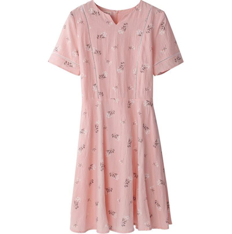 2019 nouvelle version coréenne de robe en coton à manches courtes avec taille haute et impression de longueur moyenne