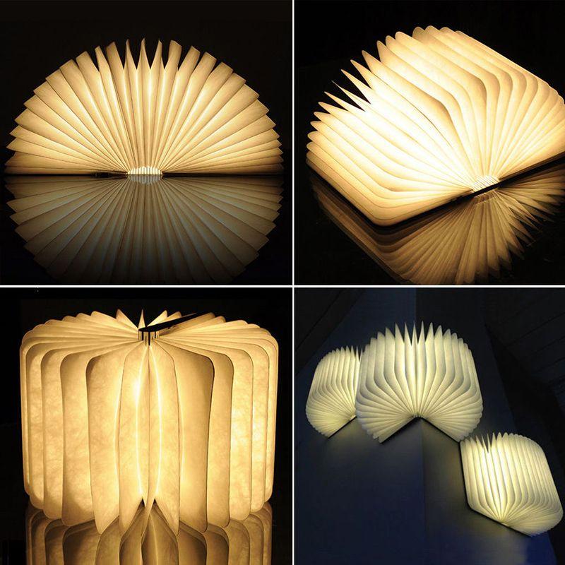 Nueva Creativo De Madera Plegable Forma de Páginas del Libro del Led Luz de La Noche Iluminación Booklight Lámpara Portátil USB Recargable (Pequeño/Grande tamaño)
