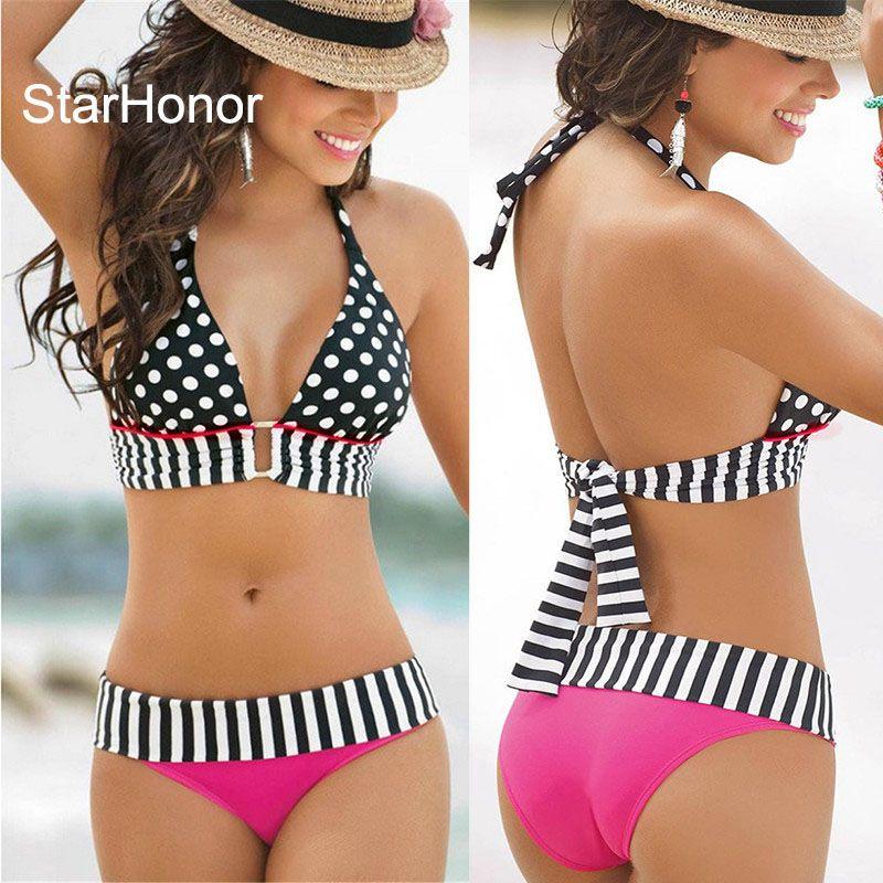 StarHonor femme brésilien rétro à pois licou deux pièces costumes soutien-gorge Bikinis ensemble rayure maillot de bain grande taille S-4XL