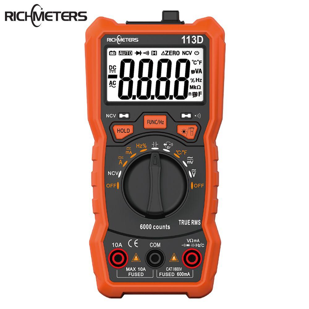 Multimètre numérique de richmetres RM113D NCV 6000 compte la distance automatique AC/DC compteur de tension Flash lumière arrière grand écran 113A/D