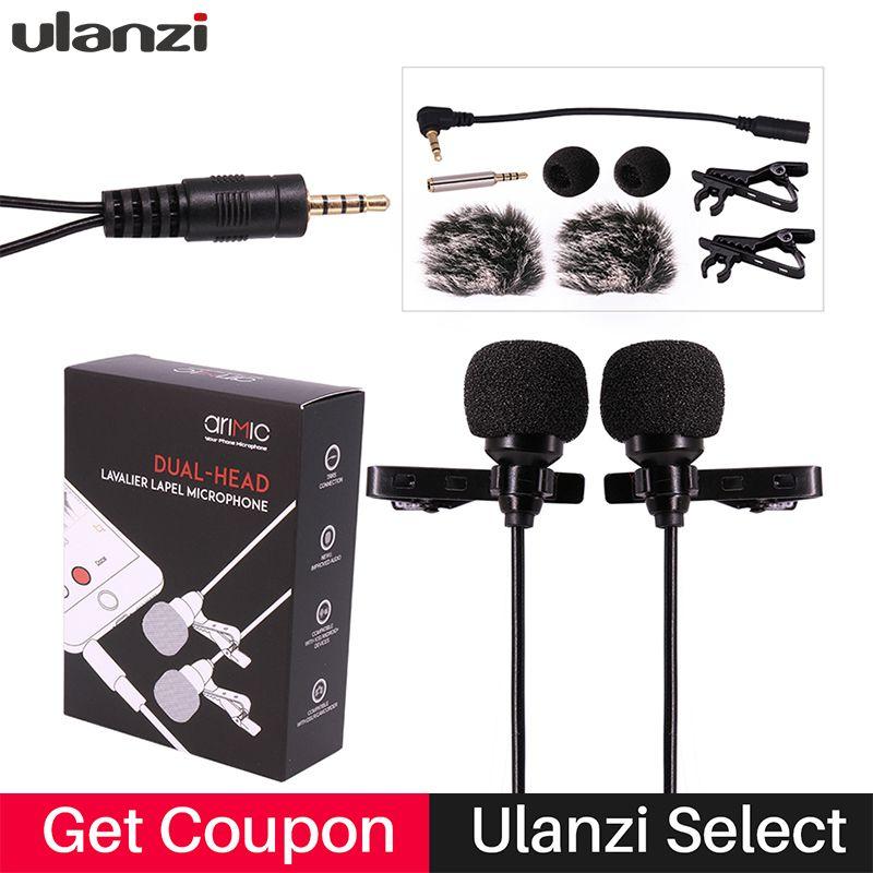 Оригинальный ulanzi Dual-Head петличный микрофон 1.5 м/6 м длина кабеля для YouTube лекции интервью встречи для iPhone 7