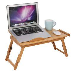 Escritorio de la computadora ajustable bambú portátil mesa plegable portátil plegable Soportes para el portátil escritorio del ordenador portátil cama Mesa