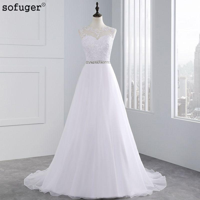 Long Cheap A Line Lace Beach Wedding Dress 2018 White Tulle Beading Organza Vestido De Noiva Appliques Plus Size Bride dresses