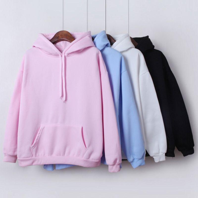 2019 New Social Harajuku Hoodies For Girls Solid Color Hooded Tops Women's Sweatshirt Long-sleeved Winter Velvet Thickening Coat
