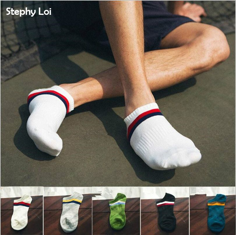 1 lot =5 pairs Plus Size New 2 Two Striped Cotton Men Slipper Socks No Show Boat Sox Low Cut Ankle Summer  Invisible Big Size
