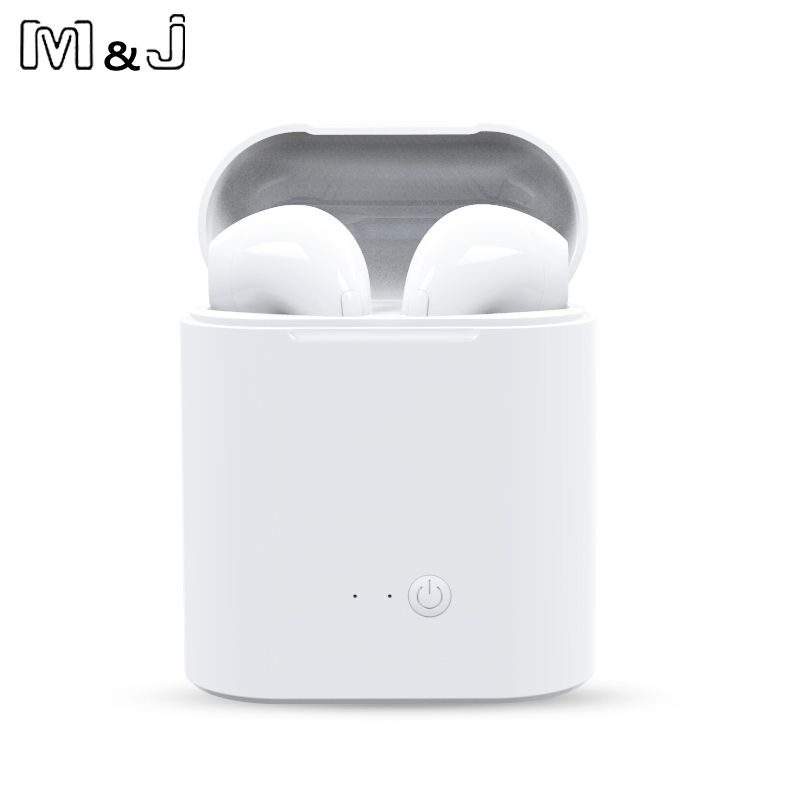 M&J i7s TWS Mini Wireless Bluetooth Earphone Stereo Headphone With Charging Box Mic For All Iphone Android Xiaomi Huawei 2 pcs