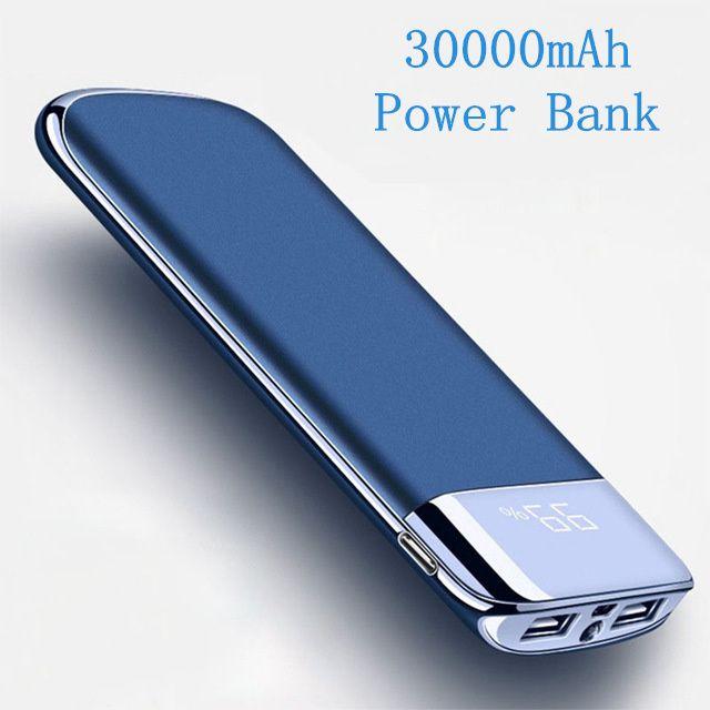 Pour Xiao mi mi Note 8 iphone X Puissance Banque 30000 mah Externe Batterie PoverBank 2 USB LED Powerbank Portable mobile téléphone Chargeur
