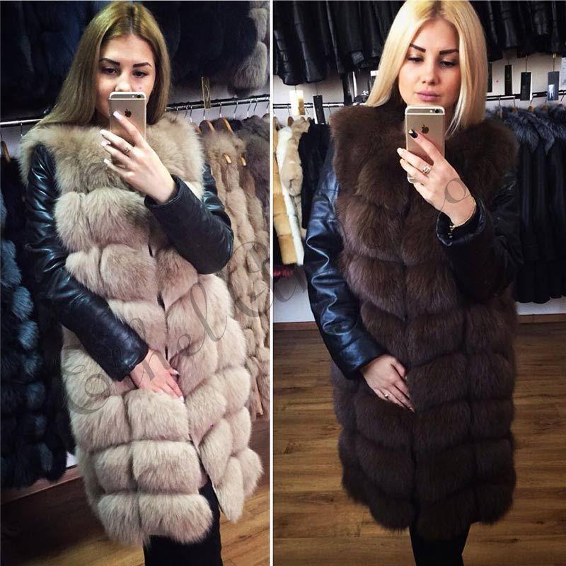 90 CM XLong Genuine Natural Fox Fur Coat Vest Whole Skin Fox Plus Size Winter Fur Vest For Women Thick Gilet Fashion Overcoat