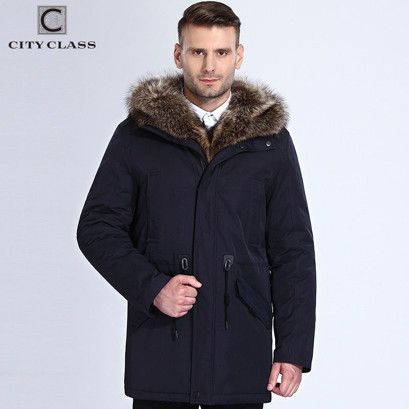 City Class Winter Fur Jacket Men Removable Raccoon Hood  Long Parka Mens Casual Jackets and Coats Cotton Fabric Camel Wool 17843
