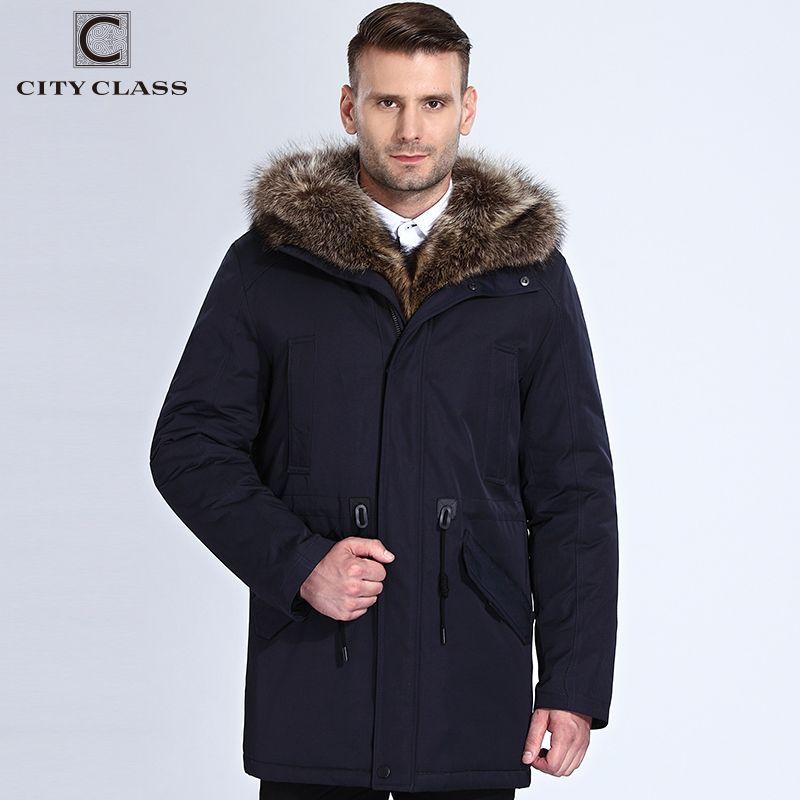 City Class Winter Fur Jacket Men Removable Raccoon Hood Long Parka Mens Casual Jackets and Coats Cotton Fabric Camel Wool 17843