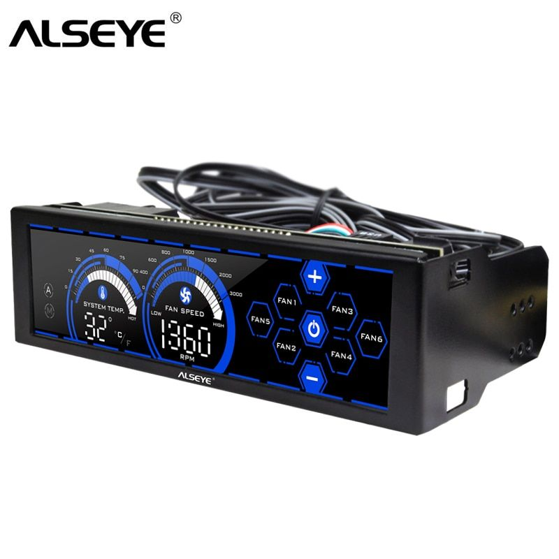 ALSEYE a-100L(B) 12V Fan Controller for Computer Touch Control Screen 6 Channels Fan speed control for 3pin 4pin Cooling fans