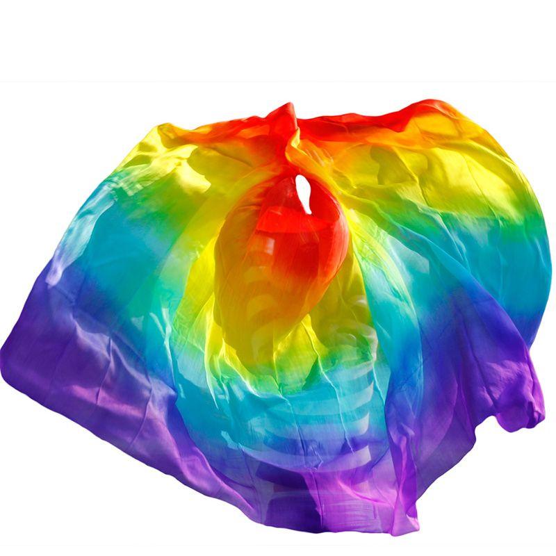 Design 100% voile de danse du ventre en soie véritable, voiles de danse bon marché, voile de tari perut kostum en gros 250 270*114 cm couleurs arc-en-ciel