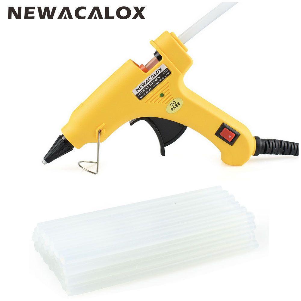 NEWACALOX 20W EU/US Plug Hot Melt Glue Gun with 20pcs 7mm Glue <font><b>Stick</b></font> Industrial Mini Guns Thermo Gluegun Heat Temperature Tool