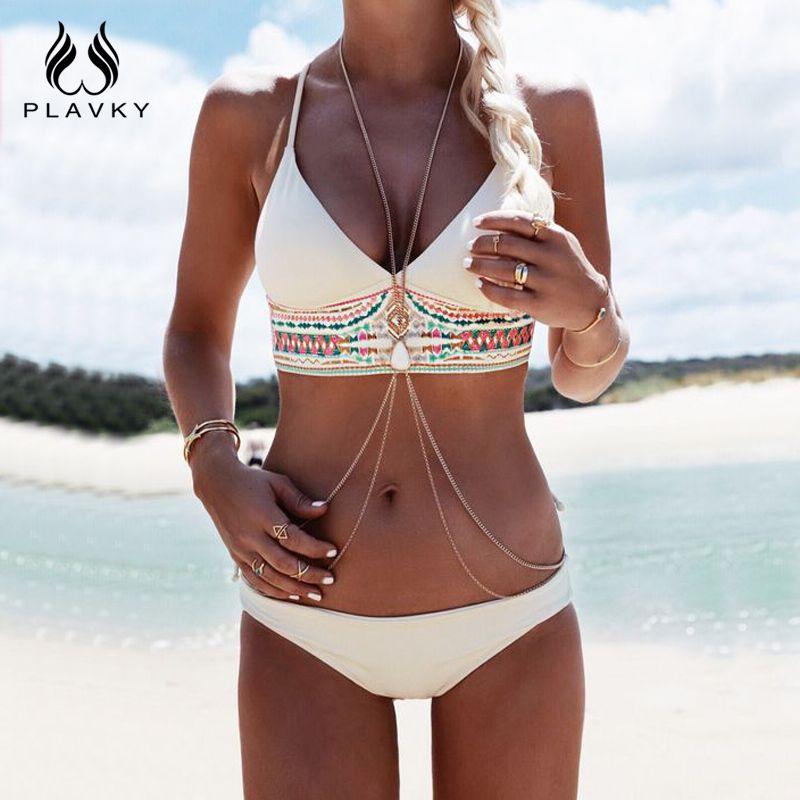 PLAVKY costumi da bagno donna 2017 Mujeres Sexy Bikini Set Fringe Bikini Beach traje de Baño Bañador de Las Mujeres empuja hacia Arriba el traje de Baño de Impresión trajes