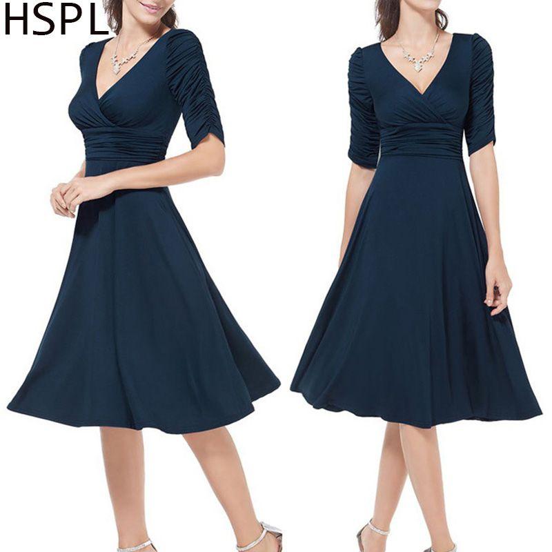 HSPL femmes robe d'été Rockabilly affaires bureau travail Swing soirée fête Wrap robes 2019 col en V profond dame Sexy robe