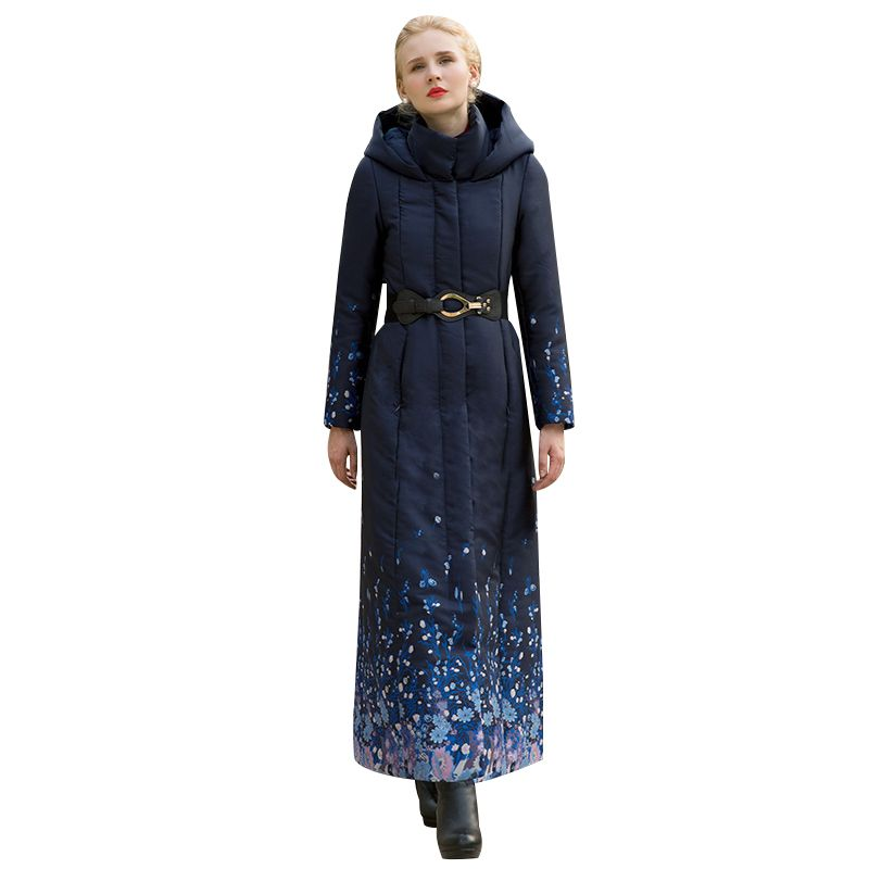 High Quality S-4XL Cotton Wool Big Coat Women Printed Flowers Winter Navy Parka Plus Size X long Jacket Warm With Belt Cap 1037