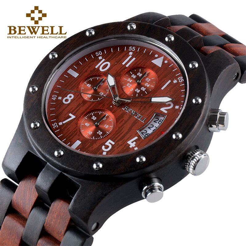 BEWELL Luxury Brand Men's Wood Quartz Wrist Watch Men Sport Waterproof Watch Man Chronograph Clock Relogio Masculino 109D
