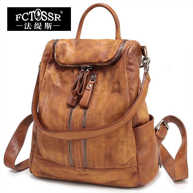 Vintage Handmade Women's Bag Big Hand bag Lady Shoulder Bag Genuine Leather Backpack Women High Capacity Backpack Female
