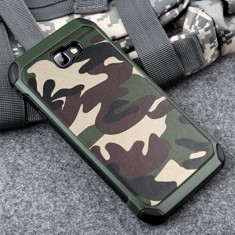 Keysion Phone Case for Samsung Galaxy A5 2017 A520 Army Camo Camouflage Pattern PC+TPU 2 in1 Anti-knock Protective Back Cover