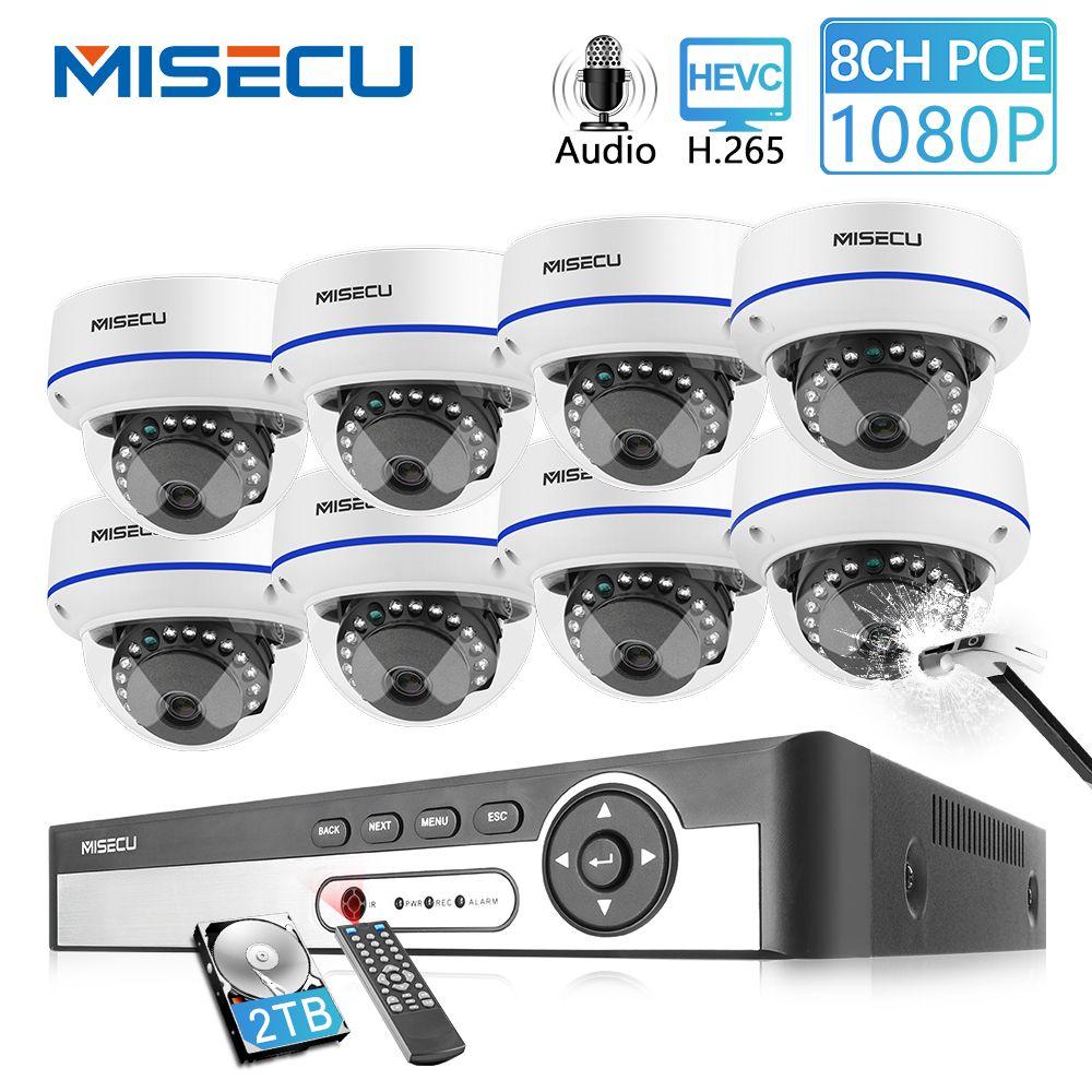 MISECU 8CH 1080P POE NVR Kit Sicherheit Kamera CCTV System Indoor Audio Record Sound IP Dome Kamera P2P Video überwachung Set