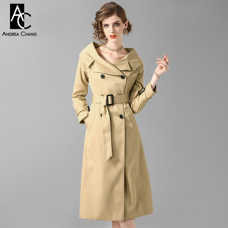 spring autumn woman trench outwear calf length trench with belt pockets double breasted v-neck fashion elegant office trench