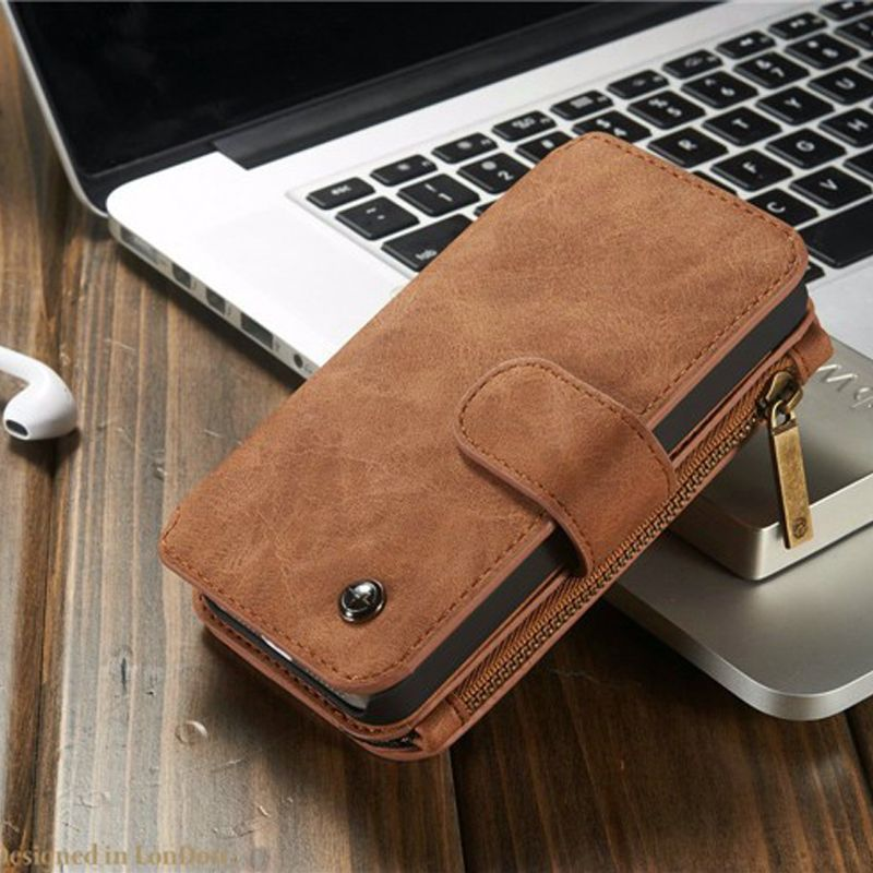 2 in 1 Multi-functional Wallet Leather Vintage Case for iPhone 5 SE Detachable Leather Back Cover for iPhone 5 5s