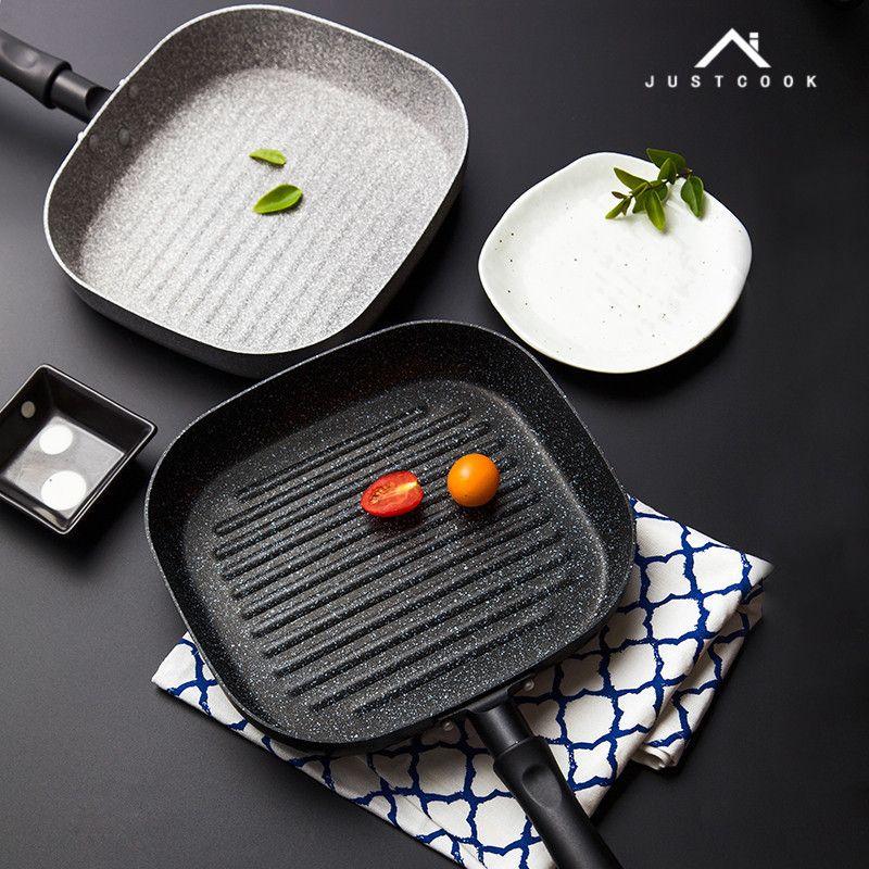 Justcook 22x24 CM Ne L'huile de fumée Pan Steak Poêle Petit Déjeuner frire Des Oeufs Seulement Utiliser pour Cuisinière À Gaz Non-Bâton Casseroles de Cuisine aide