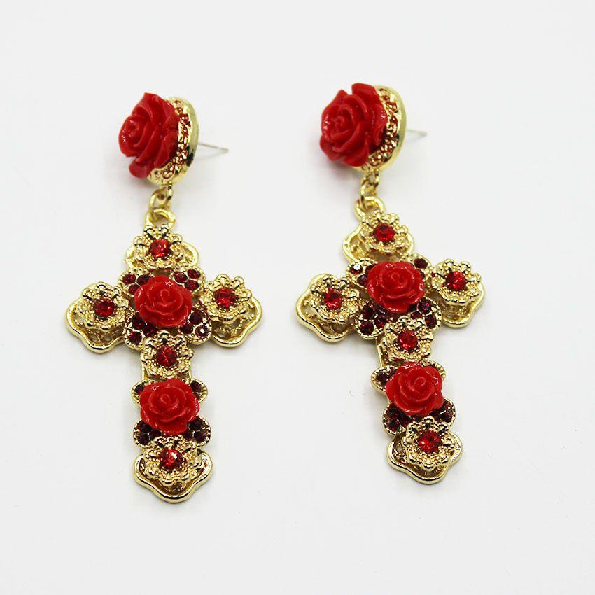 2017 new fashion Baroque crystal cross earrings exaggerated long earrings 845